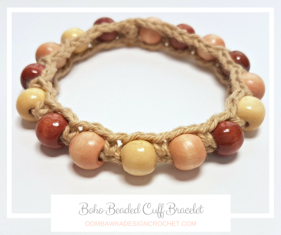 Boho Beaded Cuff Bracelet Pattern | Brazalete, Pulseras y Ganchillo