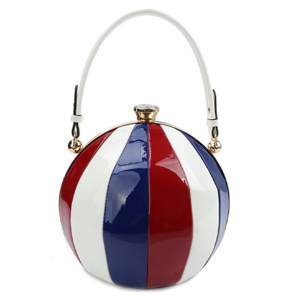 Beach Ball Purse Satchel Cross body Round Bag in Red