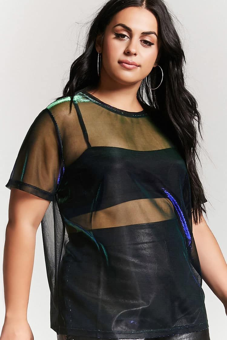 ad5a1b1162c Forever 21 Plus Size Sheer Metallic Tee. Also available in gold black
