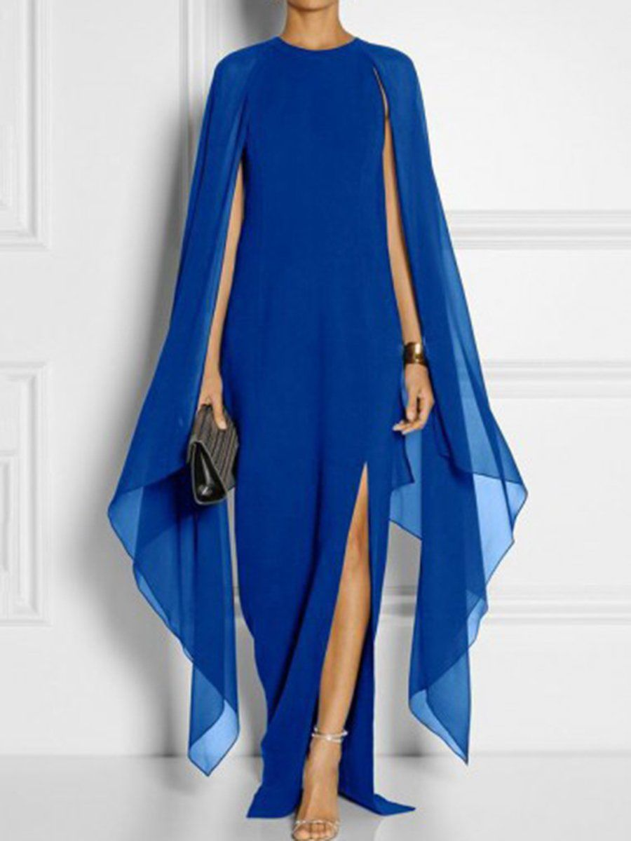 Longsleeved cape open sleeve high slit plain chiffon maxi dress