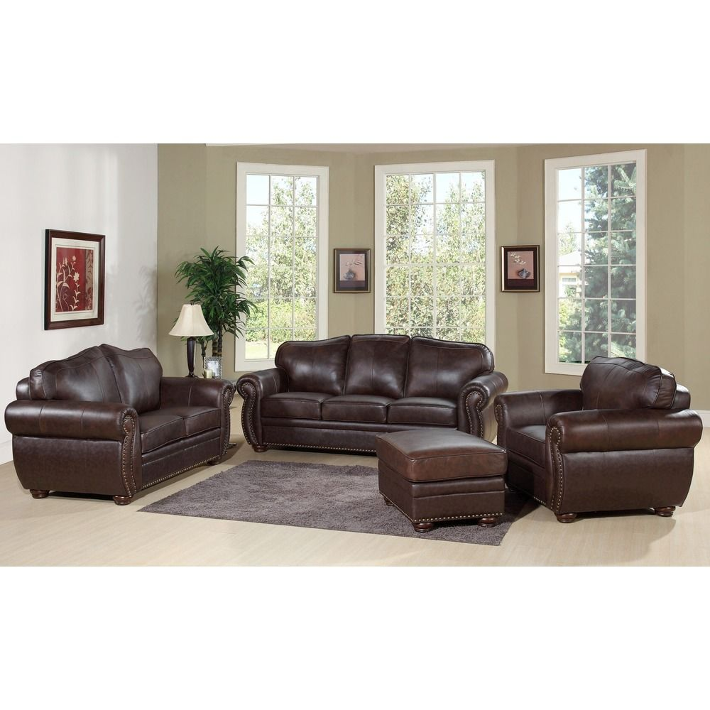 Abbyson Richfield Top Grain Leather 4 Piece Living Room