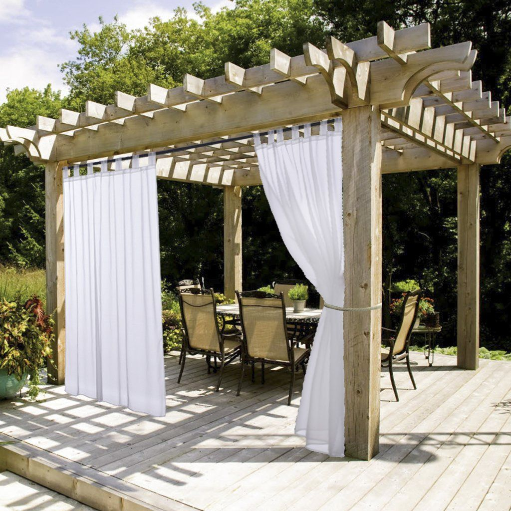 White Sheer Outdoor Curtain Panel Nicetown