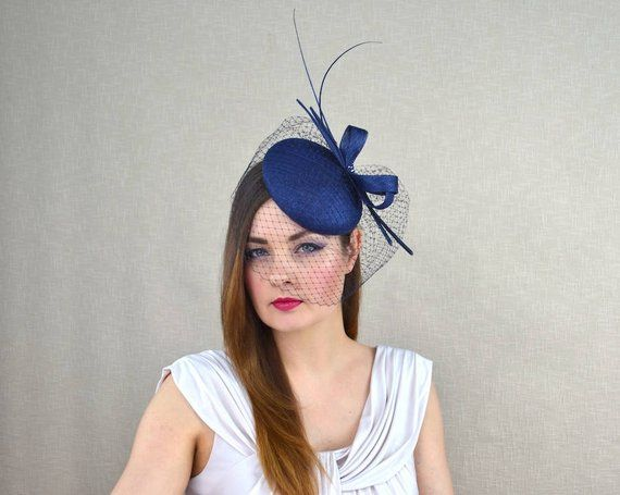 1cfe8382 Navy Blue Pillbox Hat with Birdcage Veil and Quills - Dark Blue Fascinator  - Mother of the Bride Hat