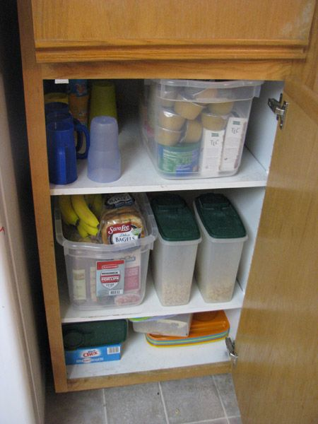 Pantry set up for cereals, snacks etc.