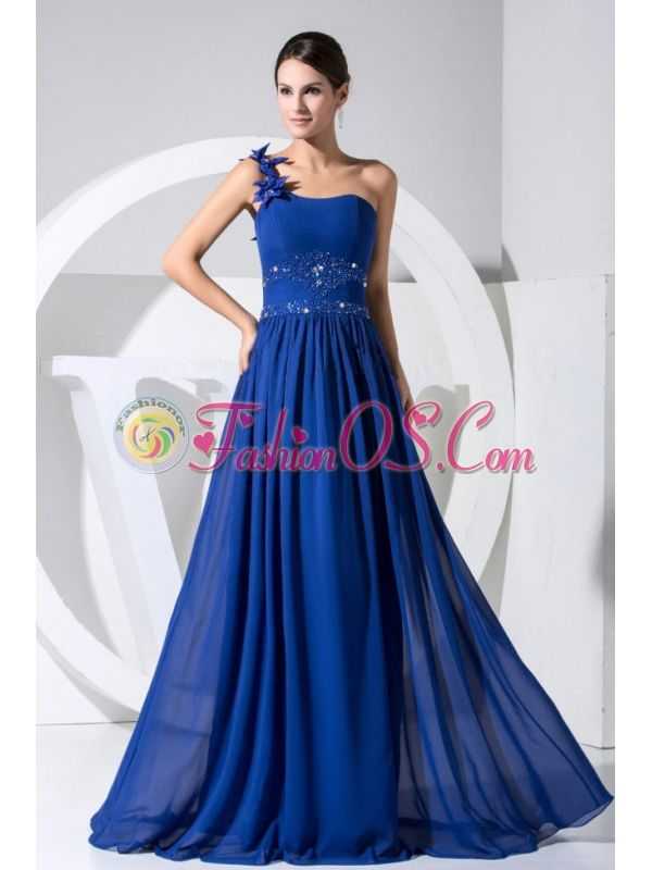 One Shoulder Beading and Hand Made Flowers Decorate Bodice Blue Chiffon Beautiful Prom Dress For 2013- $144.48  www.fashionos.com  sleeveless prom dress | ready to ship prom dress | fitted floor length prom dress | prom dress for wholesale | empire prom dress | chiffon fabric prom dress | prom dress under 150 | prom dress with fitted waist | sweet prom dress for spring |