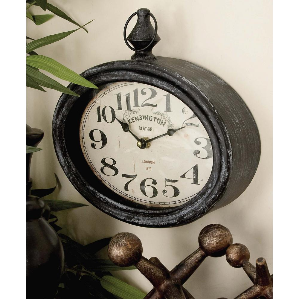 Litton Lane 2 Assorted 12 In X 11 In Antique Reproduction Style Oval Wall Clocks 52519 The Home Depot Metal Wall Clock Oversized Wall Clock Wood Wall Clock