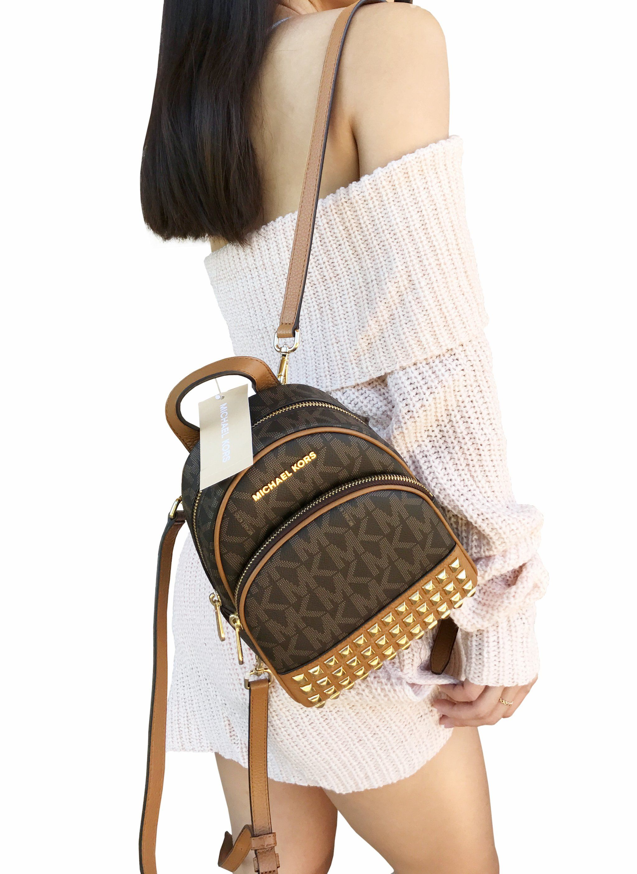 New Arrivals Michael Kors Abbey Mini Backpack Crossbody Stud Brown Acorn Extra Small 86567 E77bf