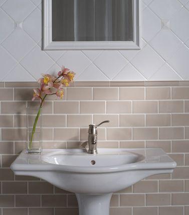 Market Collection Ashbury Villagio Garett Crackle In Fleece Sample Lovely White Color Traditional Bathroom Tile Bathroom Traditional Bathroom Tile