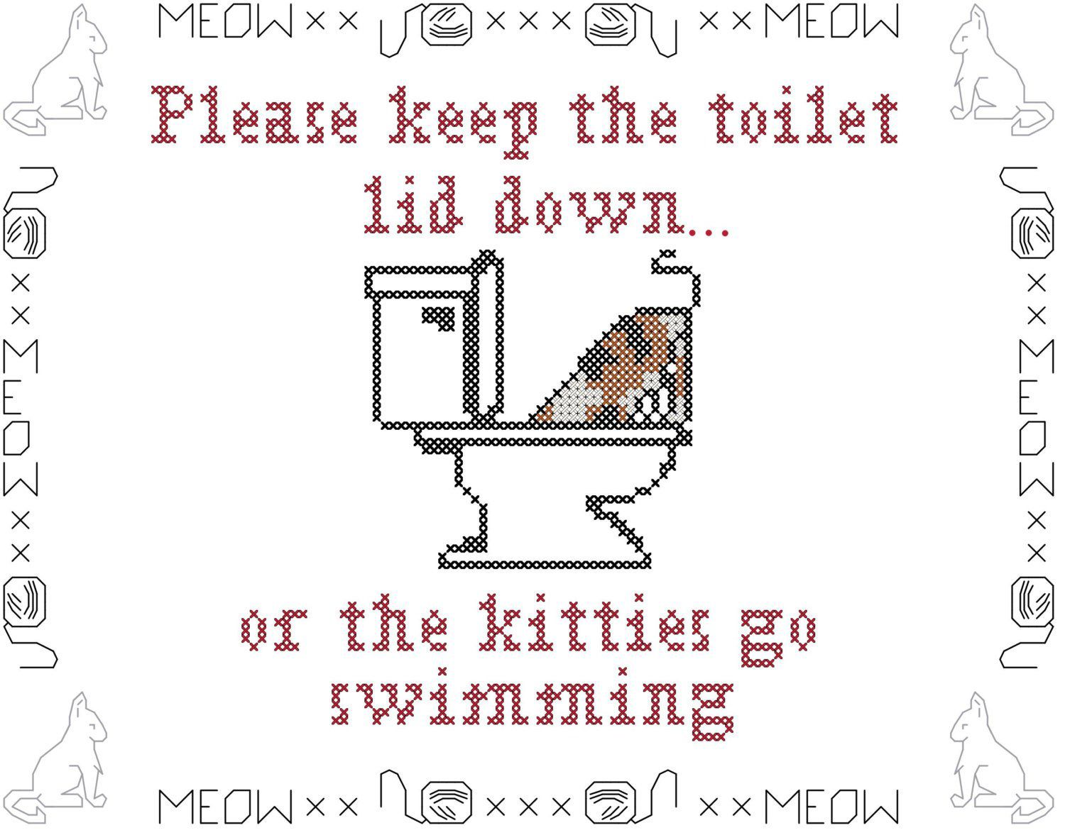 Cats Cross Stitch Pattern Please Keep The Lid Down Or The Kitties