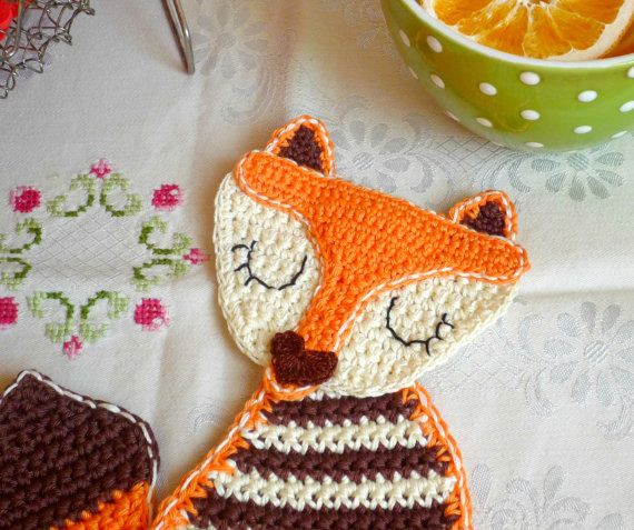 Crochet Fox Lady Coaster - Fox Coaster - Crochet Animal Coaster - Crochet Fox - Gift for Her - Stocking Stuffer - Gift under 20