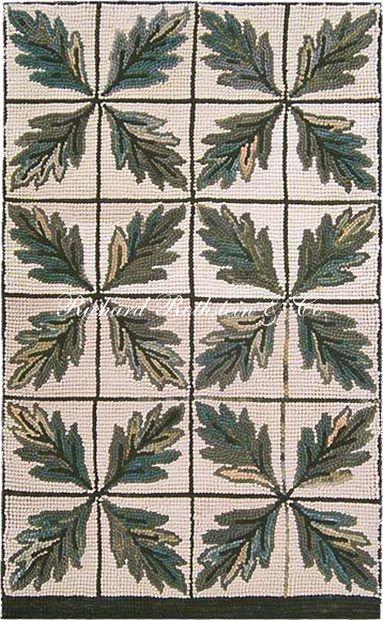Richard Rothstein Hand Hooked Rug Leaf Tile