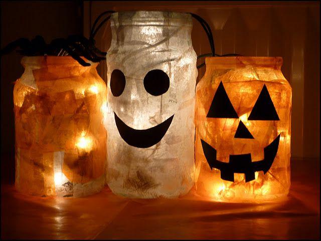 Lampion voor binnen of buiten dit model is met een glazen potje gemaakt halloween - Decoratie recup ...