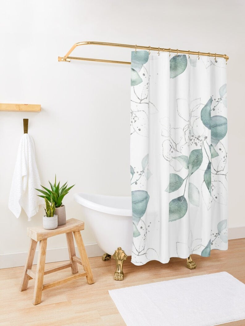 Watercolor Leaves Shower Curtain Nature Shower Decor Green Etsy In 2020 Floral Shower Curtains Kids Shower Curtain Printed Shower Curtain