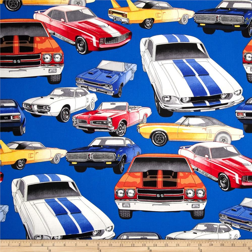Nicole S Prints Pure Muscle Cars Royal Fabric Pinterest Fabric