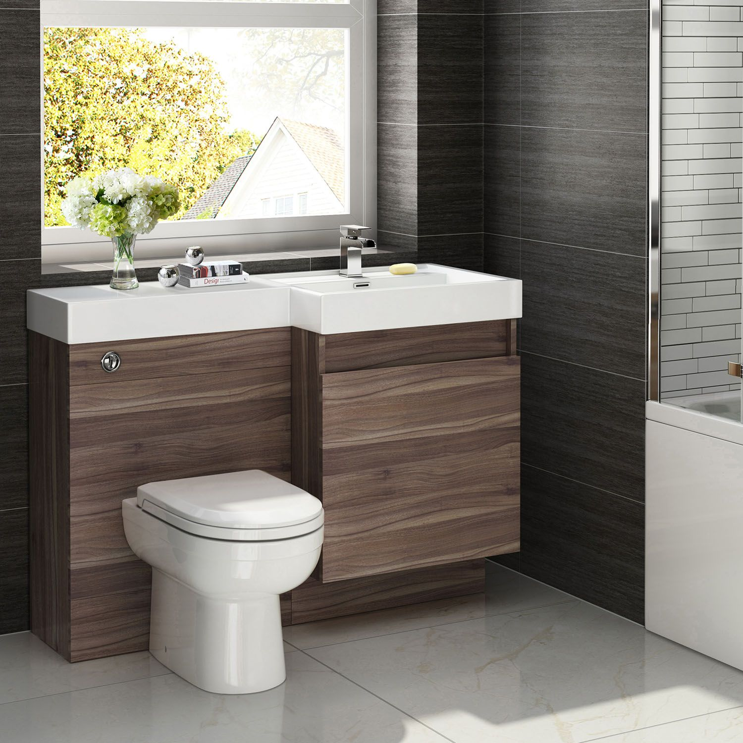 Conterporay Bathroom Vanities And Sinks Atlanta With Modern Chrome Faucet Walnut Finish