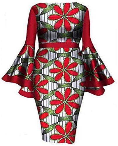 Buy YUHENG Women Plus Size Dress Elegant flowes Printed Round Neck Horn Long Sleeve Cocktail Party Dress Wedding Dress online