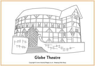 Globe Theatre Colouring Page Drama Ideas Speech Too