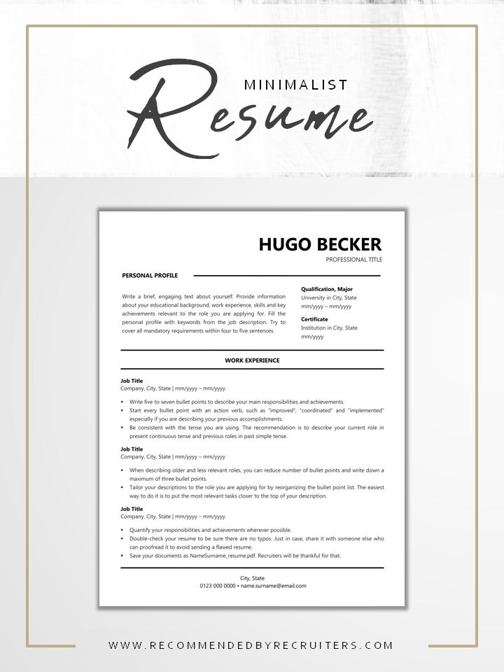 Minimalist Ats Resume Template Instant Download One And Etsy In 2020 Resume Template Resume Design Inspiration Minimalist Resume Design