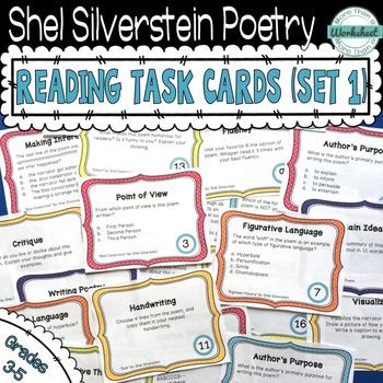 shel silverstein poetry task cards set 1 poetry task cards reading comprehension skills. Black Bedroom Furniture Sets. Home Design Ideas