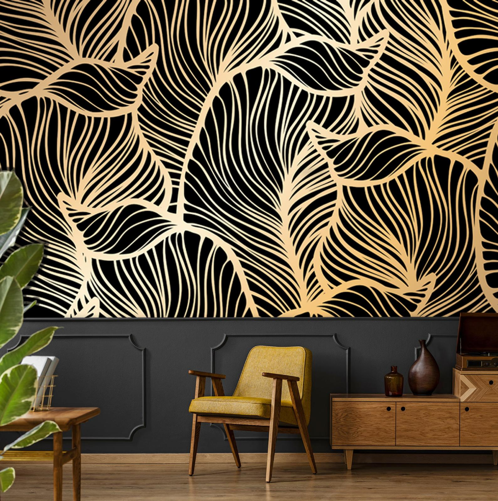 Banana leaf wallpaper, peel and stick tropical wall mural