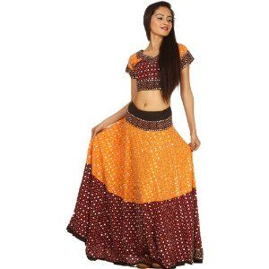 Amber & Brown Two Piece Ghagra Choli from Kutch with Bead work and Sequins @ junglee
