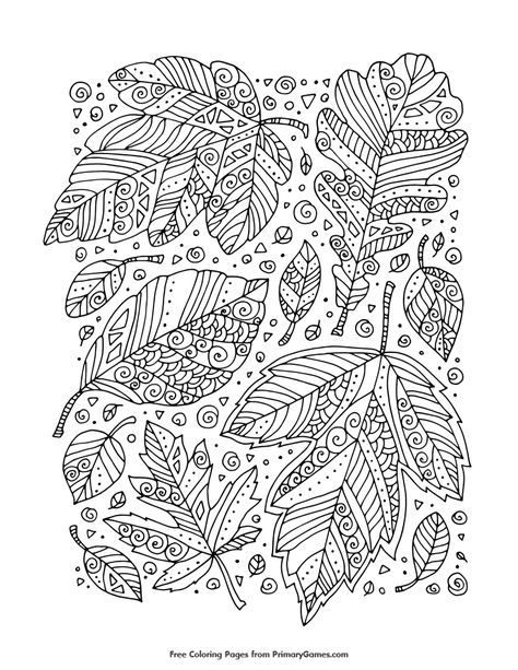 zentangle leaves coloring page free printable ebook