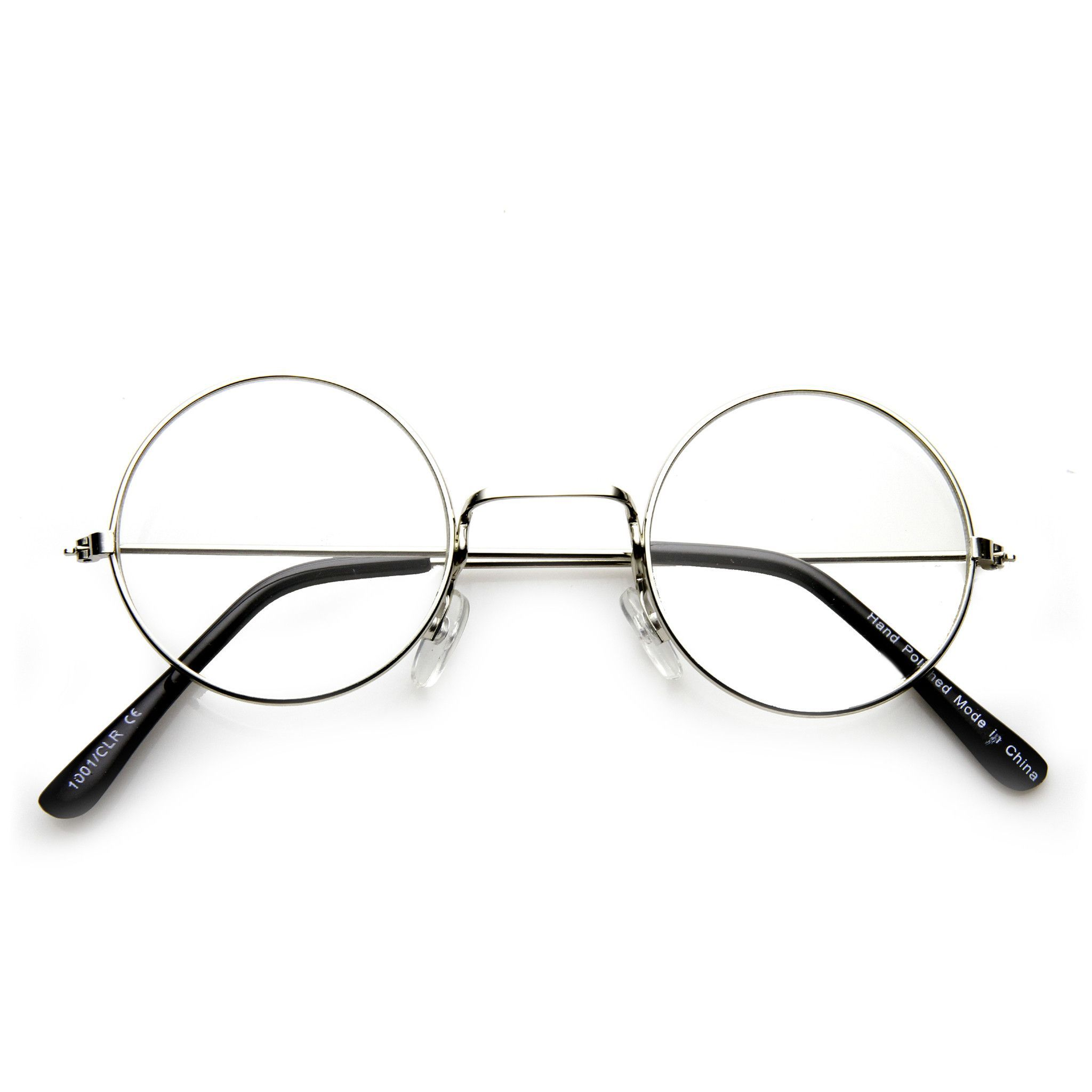 215fc835cb3 Vintage Inspired Round Metal Frame Clear Lens Glasses - zeroUV