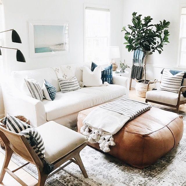 Living Room Den Family Room Neutral Colors With Touches Of Blue Living Room Inspo Family Room Design Living Decor