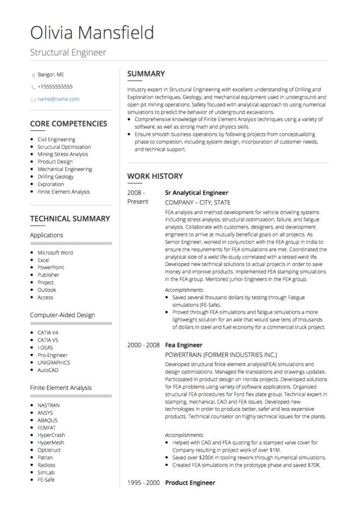 Cv Template Civil Engineer Engineering Resume Civil Engineer
