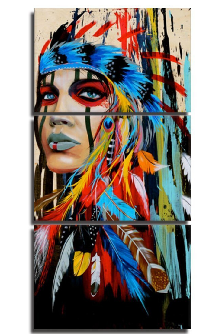 Native American Indian Canvas Wall Art Painting 3 Panels Painting Art Abstract Wall Art