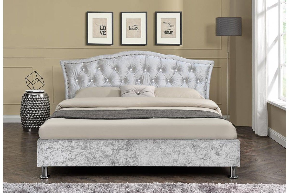 Georgio Crushed Silver Diamante Headboard Designer Bed Bed Fabric Bed Frame Fabric Bed Headboard