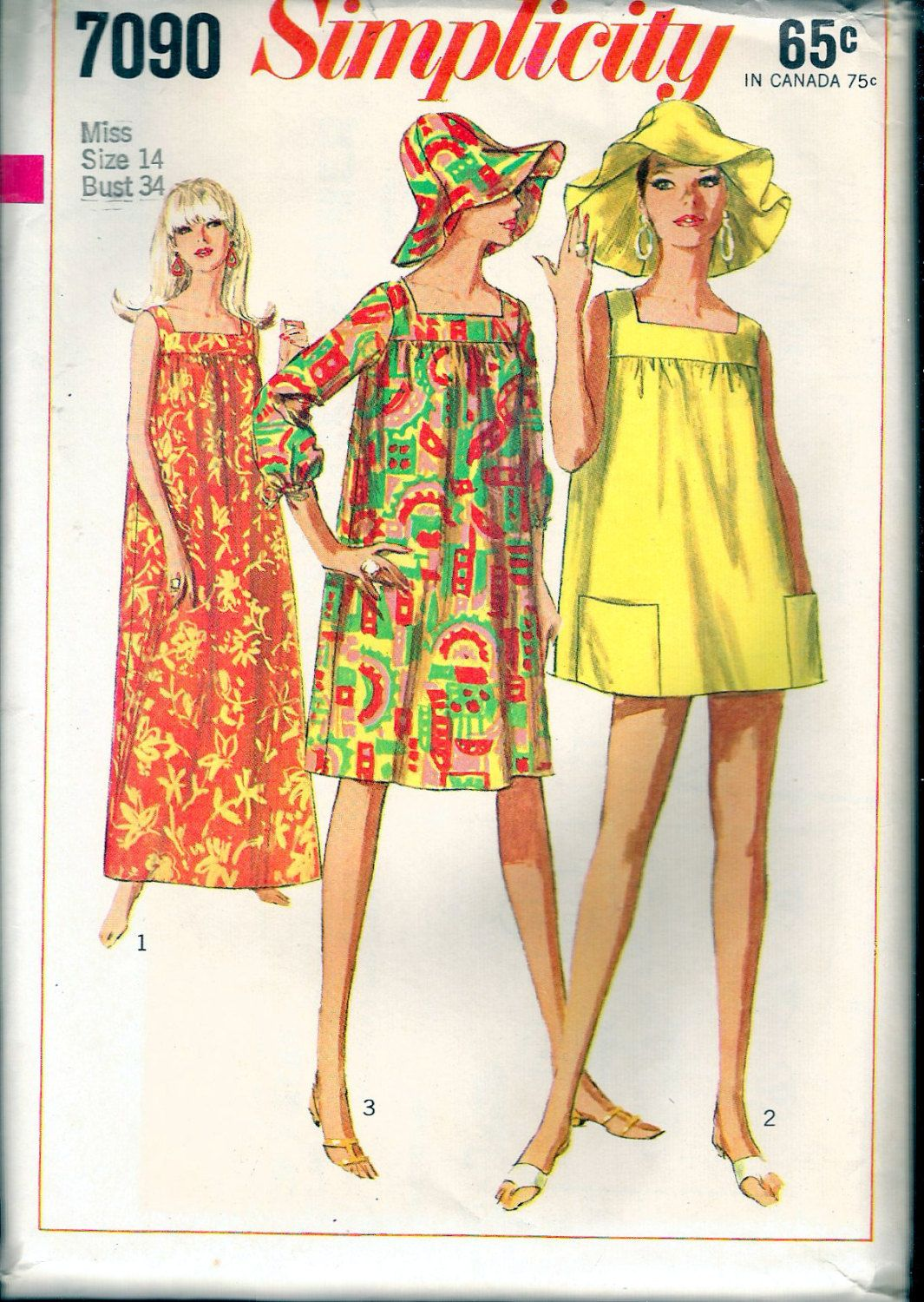 Vintage 1967 Simplicity 7090 One-Piece Dress in Three Lengths & Hat ...