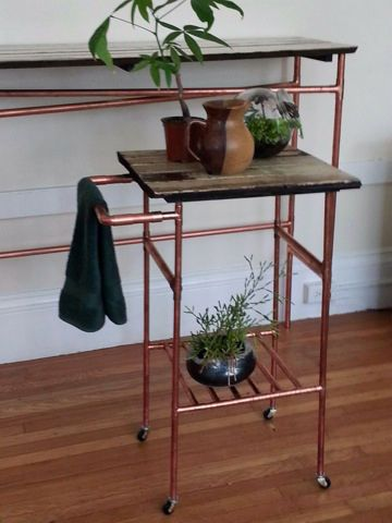Reclaimed wood furniture · DIY Copper Pipe Projects by Persia Lou
