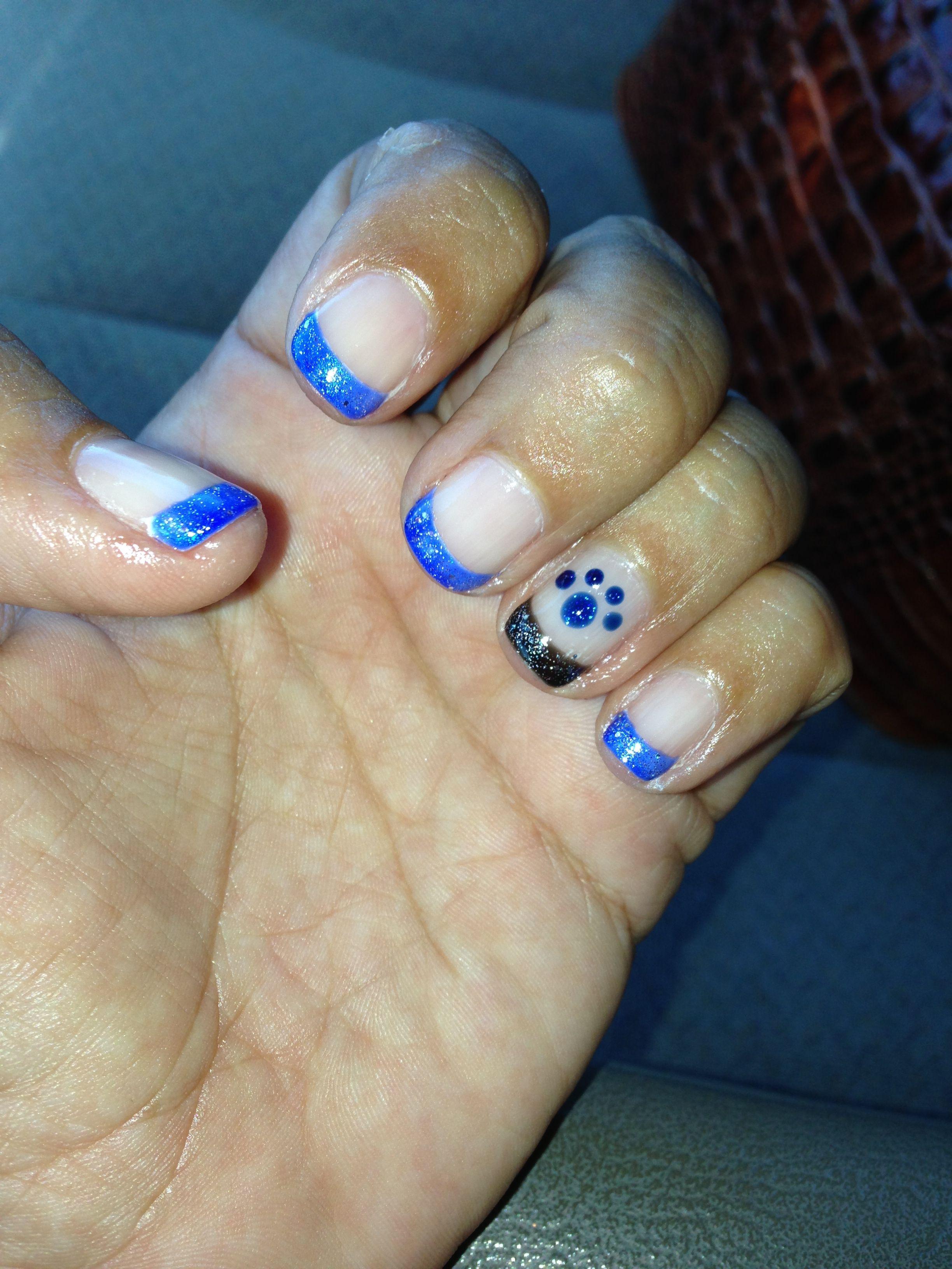 football nail art #bears #blue