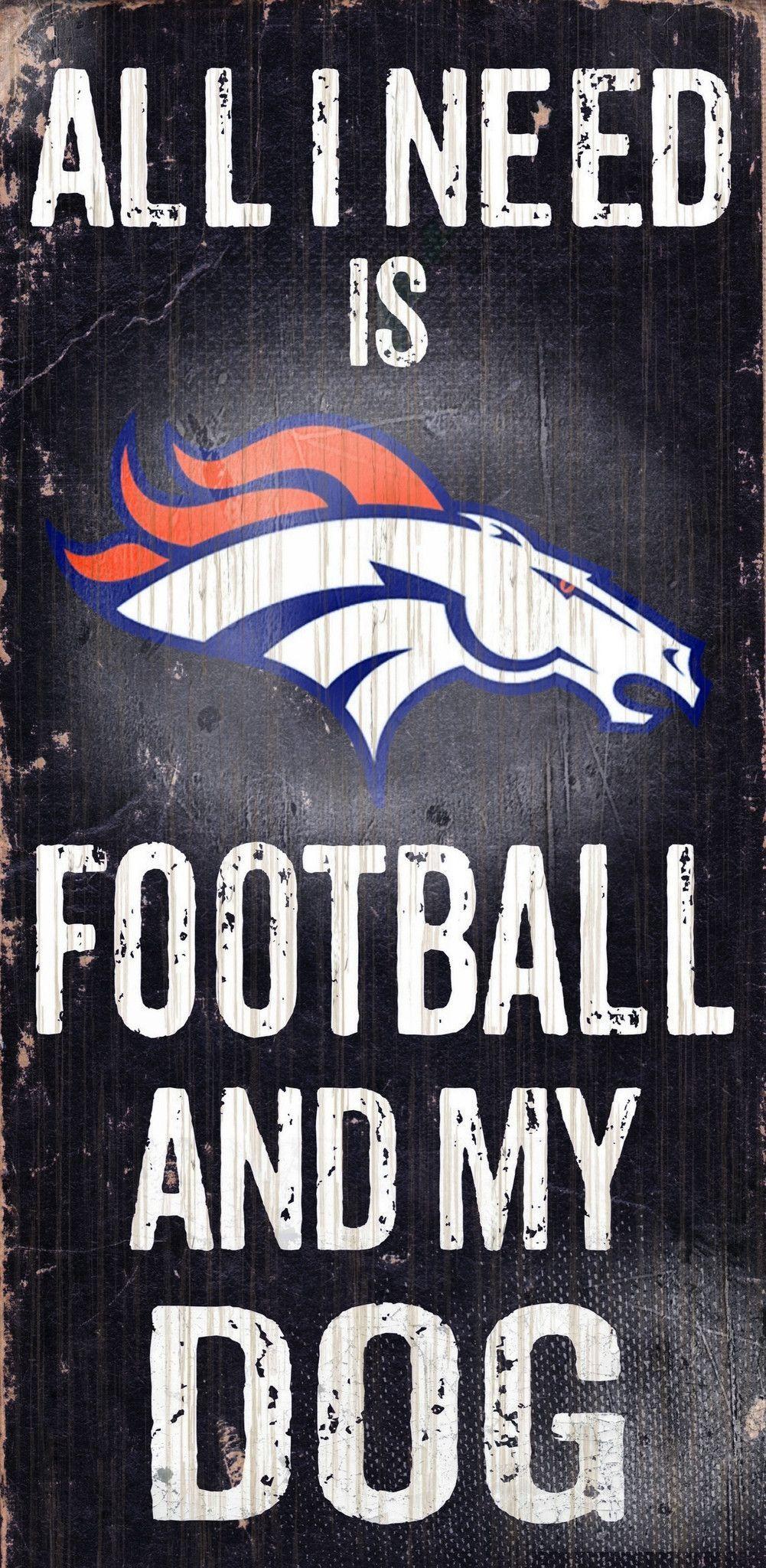 Denver Broncos Wood Sign - Football and Dog 6\