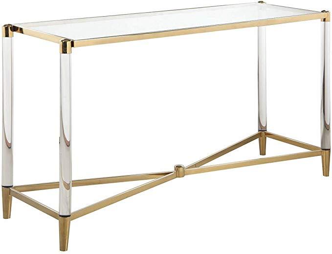 Amazon Com Milan St Dante Sofa Table Brass Kitchen Dining