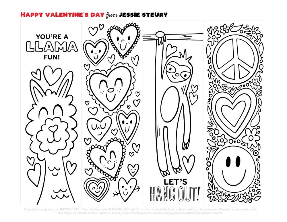 Free Printable Valentine S Day Bookmarks To Color Easy Diy Last Minute Valentine Card I Coloring Bookmarks Valentines Printables Free Coloring Bookmarks Free