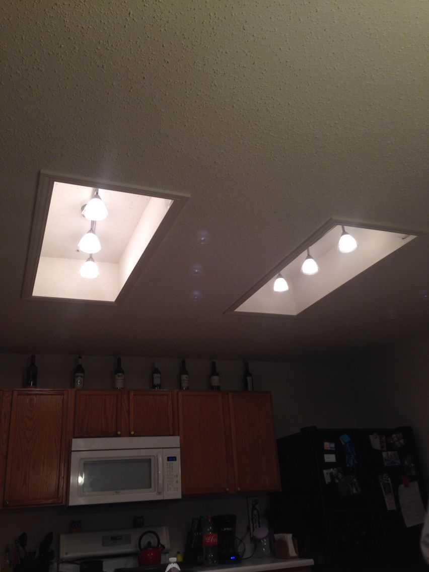 Replace Fluorescent Light With Track Light In The Kitchen Track Lighting Kitchen Kitchen Ceiling Lights Fluorescent Light Fixture