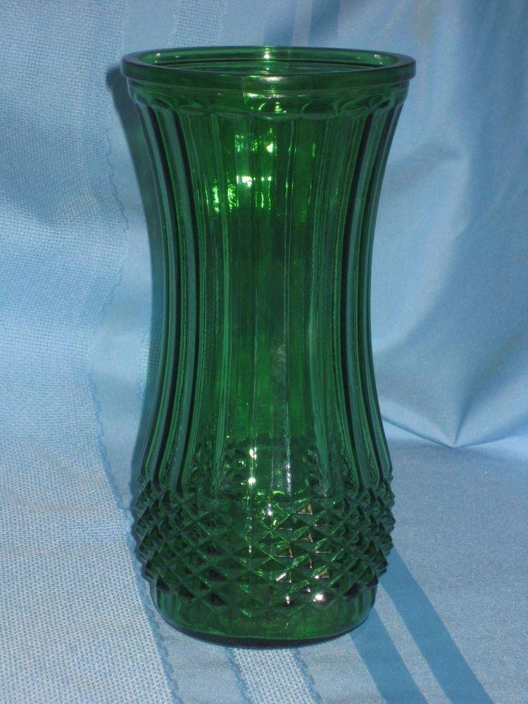 Vintage Hoosier Glass Green Textured 8 12 Tall Flower Vase 4088