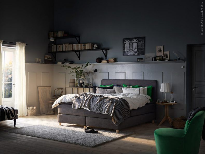 dunvik boxspring h v g middelhard tuddal donkergrijs bedrooms ikea ikea and ikea hack. Black Bedroom Furniture Sets. Home Design Ideas