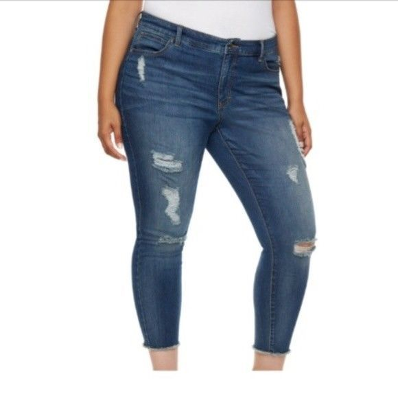 b713dfc975748 Jennifer Lopez Womens Ripped Midrise Skinny Ankle Jeans Plus size 22W NEW  https