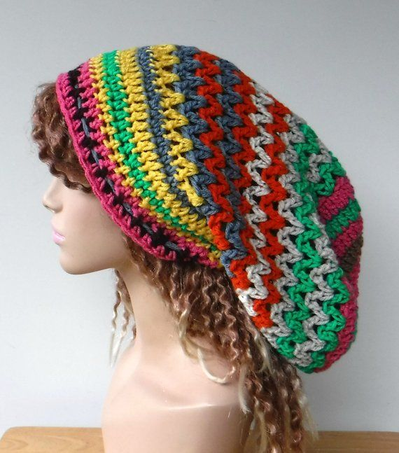 58e503359 OOAK woman dread tam beanie/bright patchwork slouchy hat/dreadlocks ...