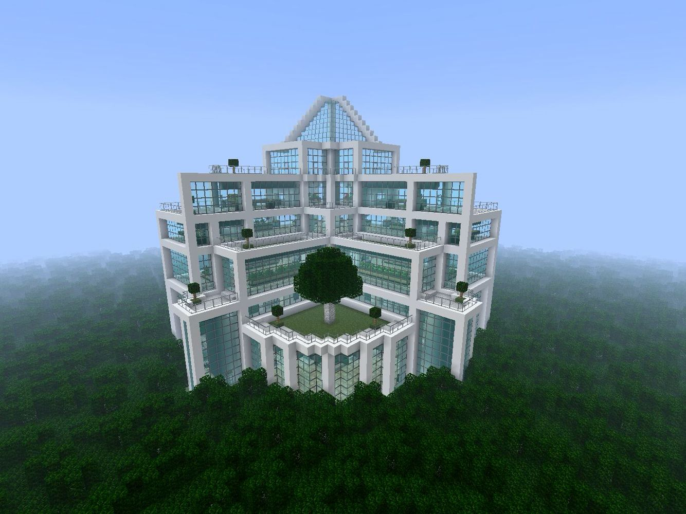Minecraft Massive Quartz And Glass Building In The Middle Of A Jungle Biome Amazing Minecraft Minecraft Creations Minecraft Projects
