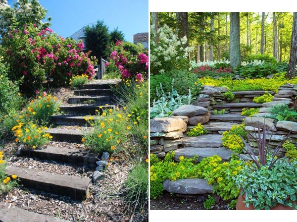 Landscaping Ideas Garden Stairs Interiorholiccom Small Front Garden Designs Pictures