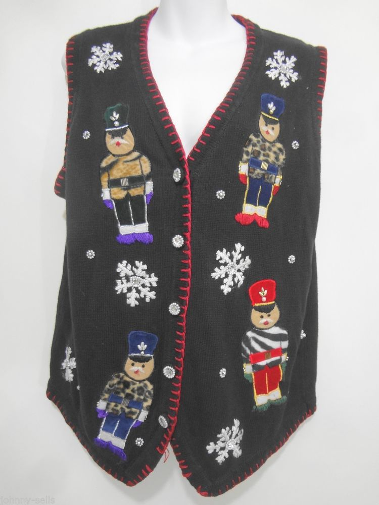 b00d1de3235 Lord   Taylor Ugly Christmas Sweater Vest Black w Soldiers   Snowflakes  Womens M  LordTaylor