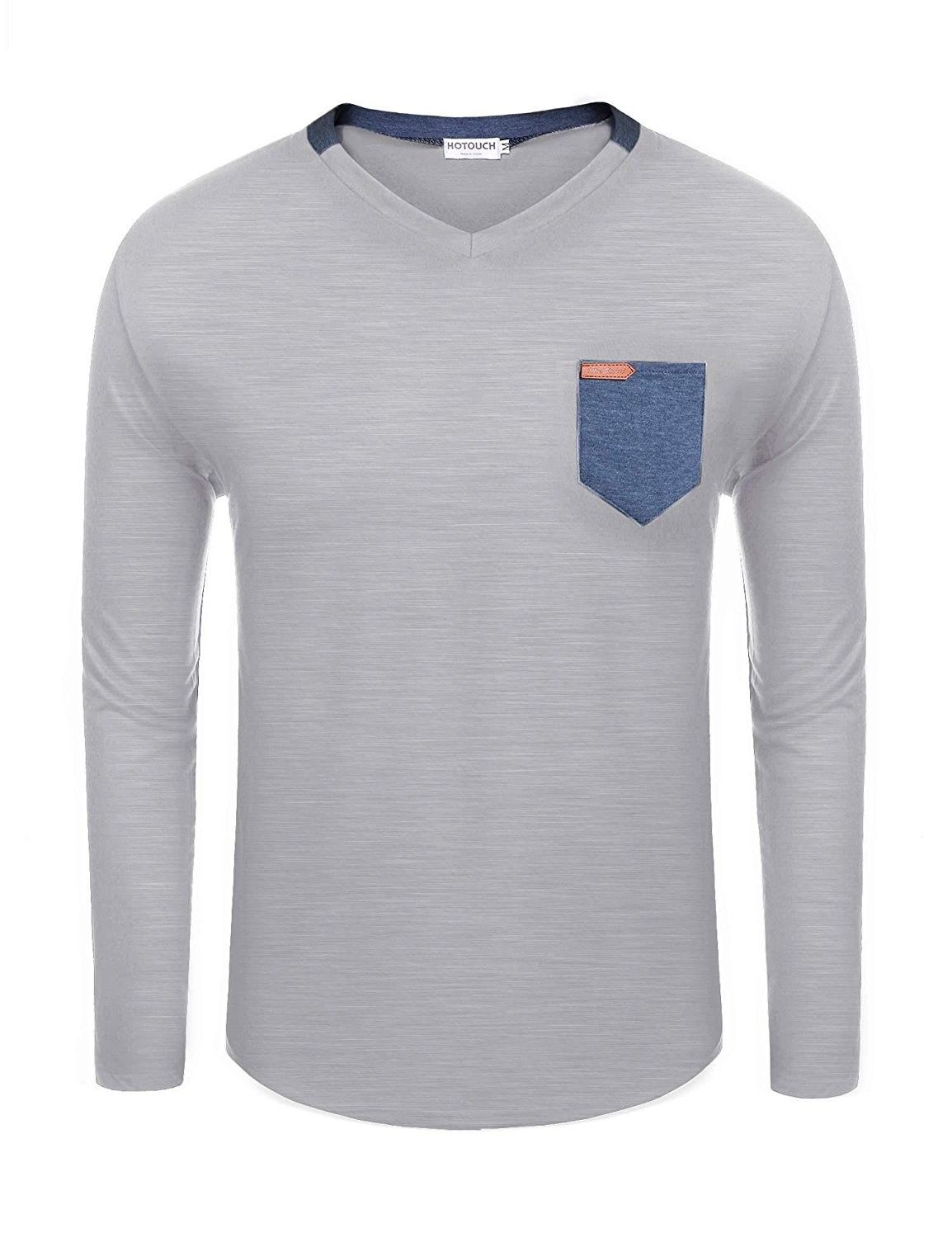 Mens Casual Cotton V Neck Long Sleeve T Shirts With Patchwork