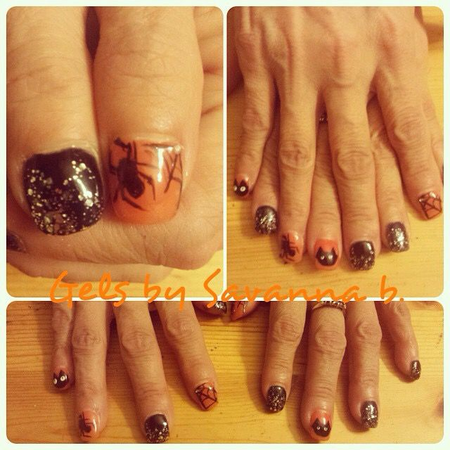 Halloween themed gel nails. All hand painted nail art ...