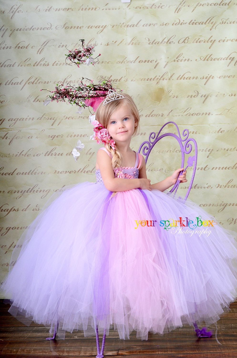All white tutu with pink and purple panel in front