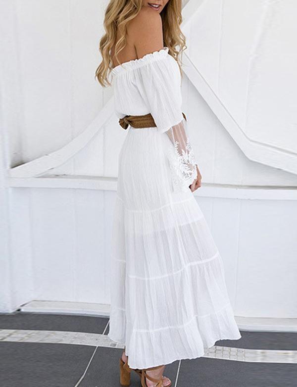 d0d139422a84 Off-the-Shoulder Long Sleeves White Flowy Boho Dress – Berlinnova ...
