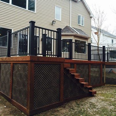 Pre oiled ipe deck with black trex transcend posts and for Lattice prevulcanizzato